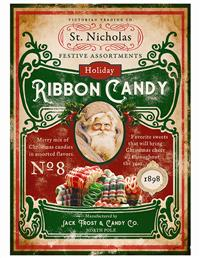 Santa's Ribbon Candy Tin Sign