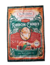 Santa's Ribbon Candy Dish Towel