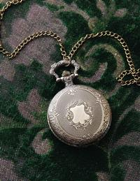 Etched Floral Crest Pocket Watch Necklace