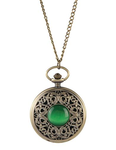 Victorian Jewelry Rings, Earrings, Necklaces, Hair Jewelry Emerald Isle Pocket Watch Necklace $24.95 AT vintagedancer.com