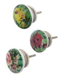 Bright Colored Roses Knobs (Set Of 3)