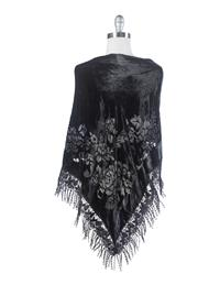 Velvet Brocade Shawl Black