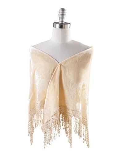 Vintage Scarf Styles -1920s to 1960s Velvet Brocade Shawl Cream $39.95 AT vintagedancer.com