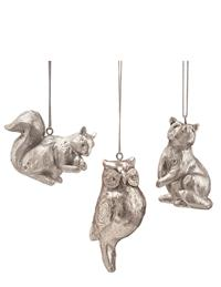 Squirrel, Owl, & Raccoon Ornament Set