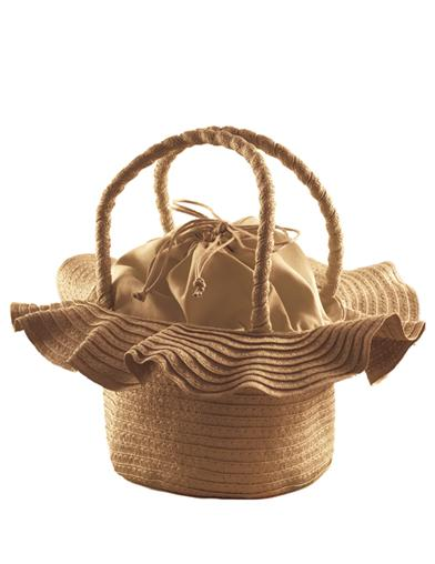 Vintage & Retro Handbags, Purses, Wallets, Bags Ruffled Brim Straw Purse $39.95 AT vintagedancer.com