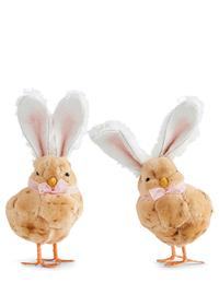 Fluffy Chicks With Bunny Ears (Pair)