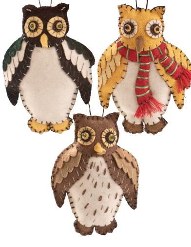 Give A Hoot! Stuffed Ornaments (Set Of 3)