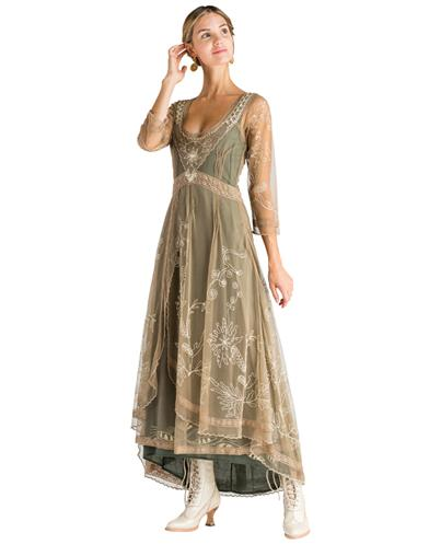 Downton Abbey Inspired Dresses Sage Tea Party Garden Dress Extra Large $249.95 AT vintagedancer.com