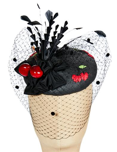 1950s Women's Hat Styles & History Black Cherry Fascinator $139.95 AT vintagedancer.com