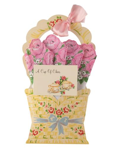 Basket Of Roses Hankie Card