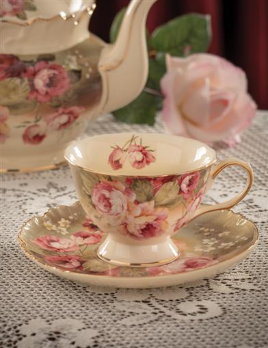Victorian Rose Teacup And Saucer (Set Of 2)