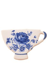 Teacup Ceramic Brooch Vibrant Blue Roses