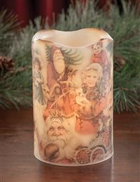 Olde Christmastime Flickering Pillar Candle