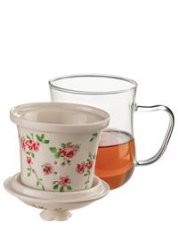 Glass Garden Rose Mug With Tea Infuser