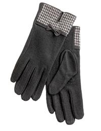 Houndstooth Trimmed Wool Gloves