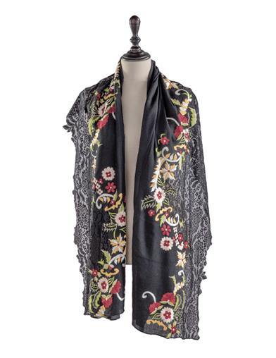 Victorian Capelet, Cape, Cloak, Shawl, Muff Empress Embroidered Floral Shawl $49.95 AT vintagedancer.com