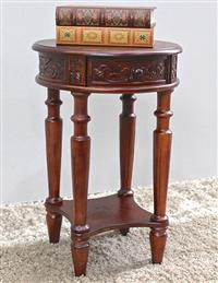 Windsor Carved Wood Round Table With Drawer