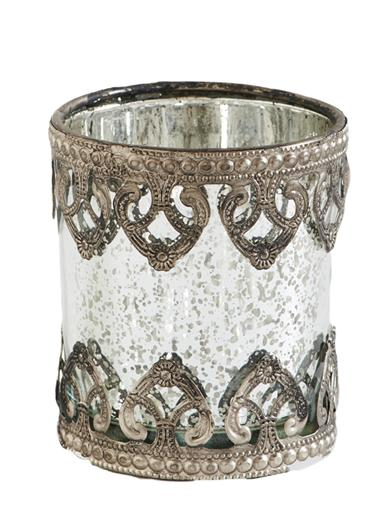 Ornate Mercury Glass Candleholder