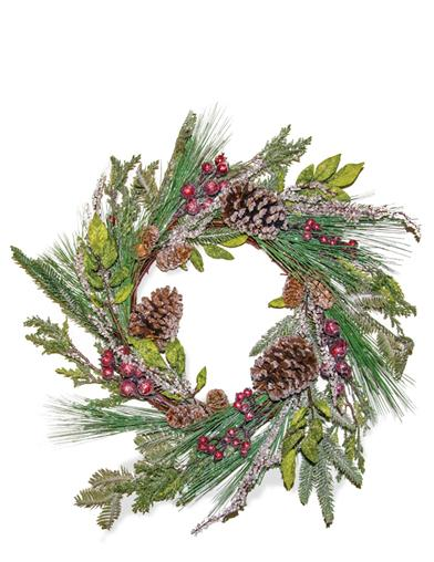 Winter's Welcome Crimson & Pine Wreath