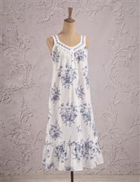 Blue Roses Sleeveless Cotton Nightie