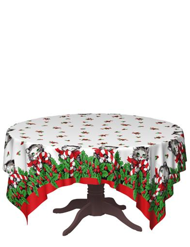 Candy Cane Kitty Tablecloth