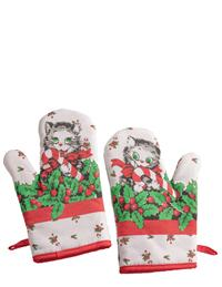 Candy Cane Kitty Oven Mitts (Pair)