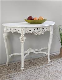 Windsor Carved Wood Console Table In White