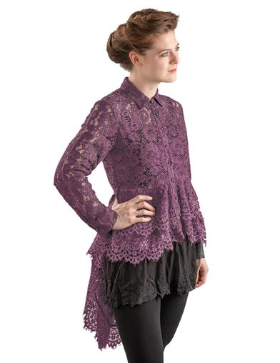 Steampunk Tops | Blouses, Shirts Lavish Lace Bustle Blouse Extra Large $99.95 AT vintagedancer.com