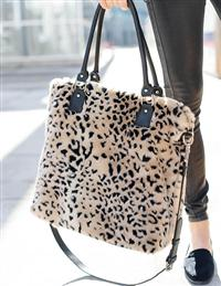 Cheetah Faux Fur Commuter Bag