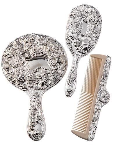 BRUSH, COMB, AND MIRROR SET