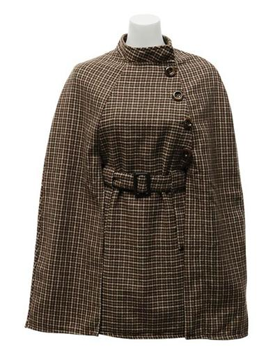 Vintage Coats & Jackets | Retro Coats and Jackets Houndstooth Belted Cape Coat $79.95 AT vintagedancer.com