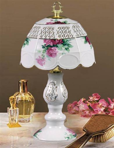 Cabbage Rose Boudoir Lamp