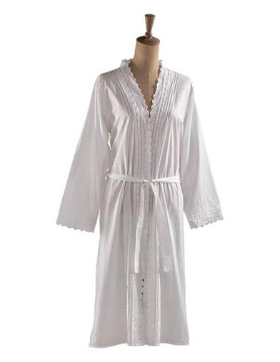 Victorian Nightgowns, Nightdress, Pajamas, Robes Lydia Embroidered Robe Extra Extra Large $49.95 AT vintagedancer.com