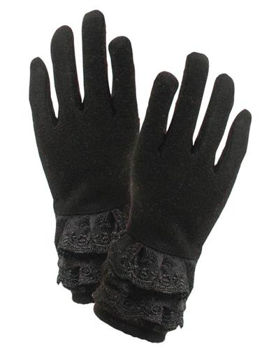Vintage Style Gloves- Long, Wrist, Evening, Day, Leather, Lace Black Gloves With Lace And Fur Cuff $24.95 AT vintagedancer.com