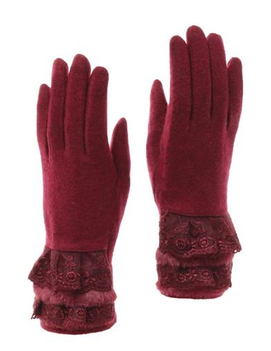 Vintage Style Gloves- Long, Wrist, Evening, Day, Leather, Lace Burgundy Gloves With Lace And Fur Cuff $24.95 AT vintagedancer.com