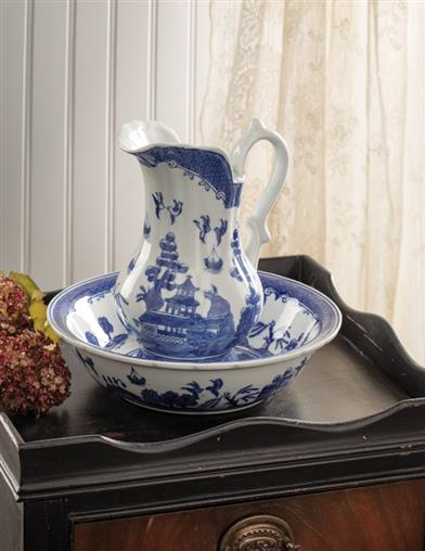 Blue Willow Pitcher & Bowl Set