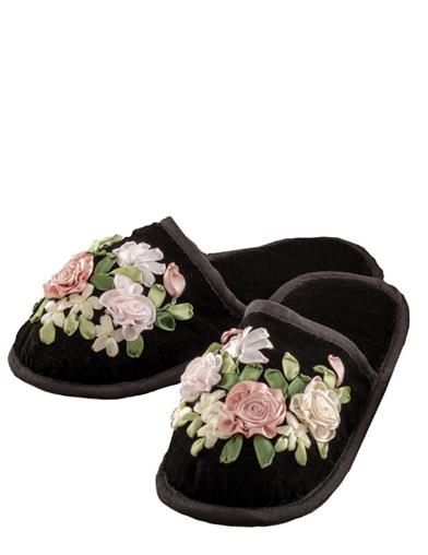 1950s Sleepwear, Loungewear History and Shopping Guide Embroidered Beauty Velvet Slippers Extra Large $24.95 AT vintagedancer.com