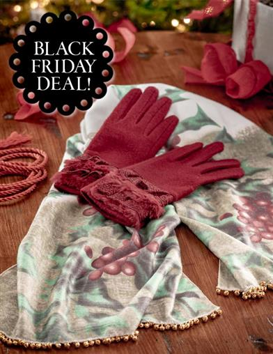 Vintage Style Gloves- Long, Wrist, Evening, Day, Leather, Lace Hollyberry Scarf  Gloves Gift Set $49.95 AT vintagedancer.com