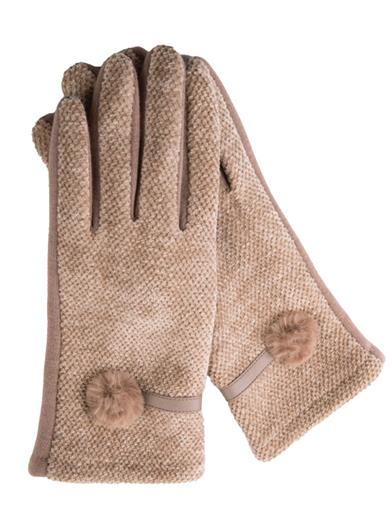 Vintage Style Gloves- Long, Wrist, Evening, Day, Leather, Lace Genevive Camel Gloves With Fur Poms by Victorian Trading Co $24.95 AT vintagedancer.com