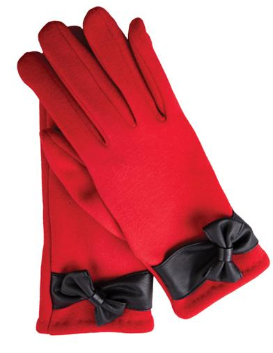 Vintage Style Gloves- Long, Wrist, Evening, Day, Leather, Lace Ruby Gloves With Black Bow by Victorian Trading Co $24.95 AT vintagedancer.com