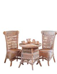 Childrens Wicker Table & Chairs (Whitewashed)