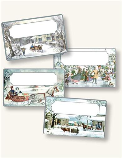 CURRIER & IVES FOIL HOLIDAY STICKERS