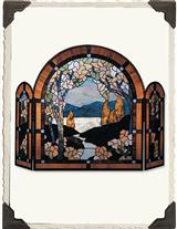 RESPLENDENT LEADED GLASS FIRESCREEN