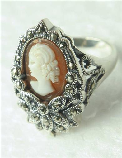 Victorian Costume Jewelry to Wear with Your Dress Marcasite  Cameo Ring $71.99 AT vintagedancer.com