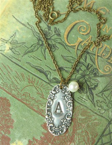 Victorian Costume Jewelry to Wear with Your Dress Silver Spoon Initial Necklace $20.99 AT vintagedancer.com