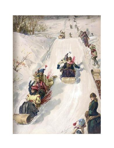 Tobogganing In The Countryside