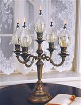 ITALIAN BRASS CANDELABRA (WITH 5 OIL GLOBES)