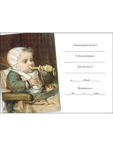 Baby W/whistle (Pkg Of 8 Birth Announcement Cards)