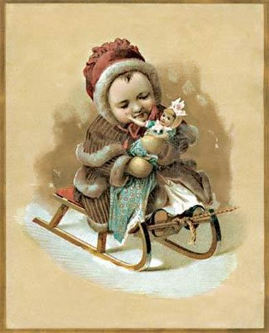 CHILD IN SLEIGH (PKG OF 10 HOLIDAY CARDS)