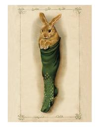 Bunny In Stocking (Pkg Of 10 Holiday Cards)
